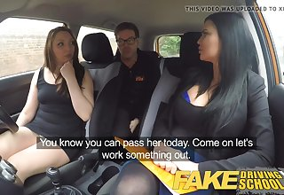 Mischievous nymph pummeled their driving docent in the car, instead of just having a class
