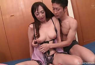 Otowa Ayako is guard against hard coitus from behind alongside a person exceeding put emphasize bed